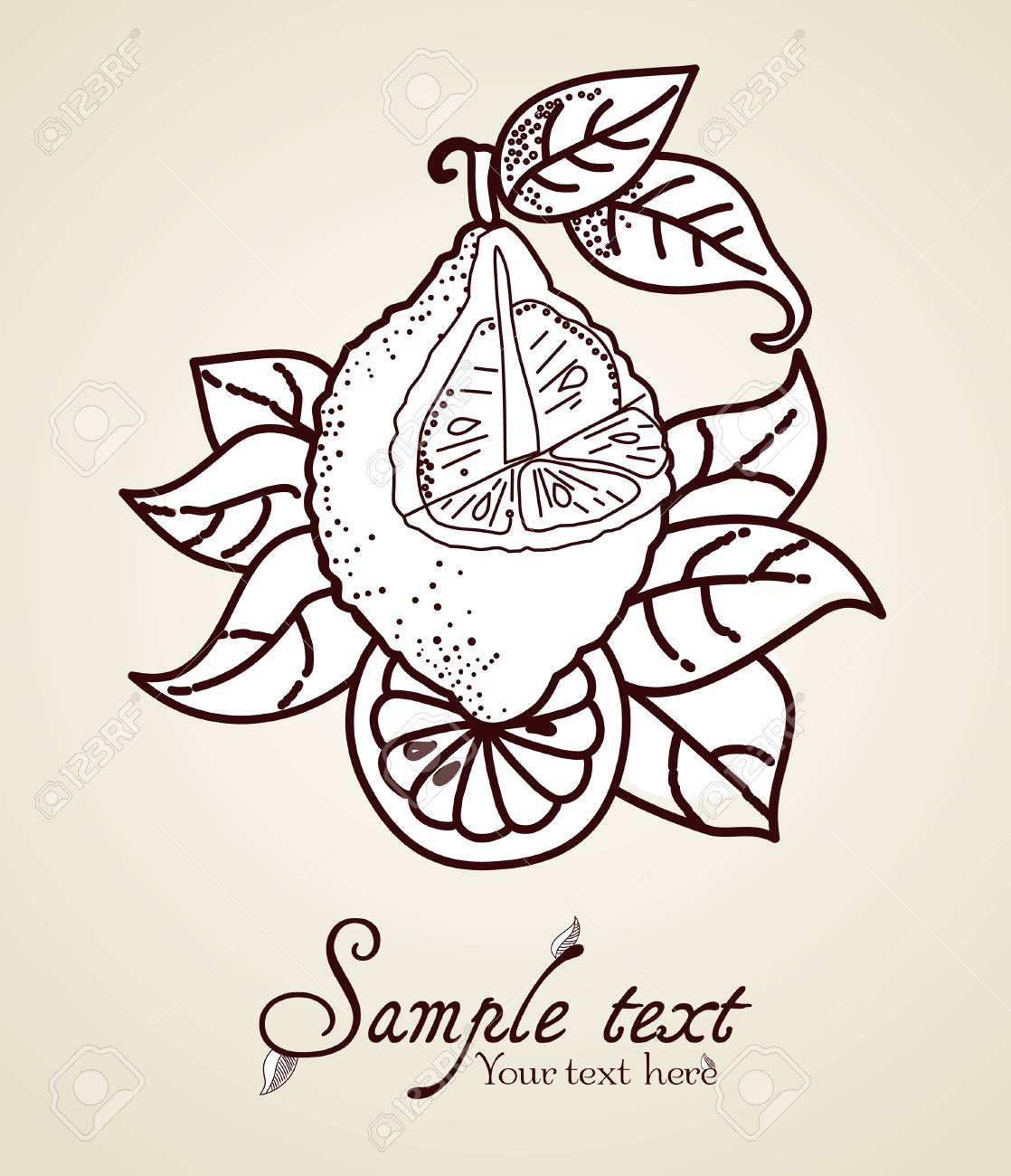 Hand-drawn fruit icon with text Stock Vector - 13222824