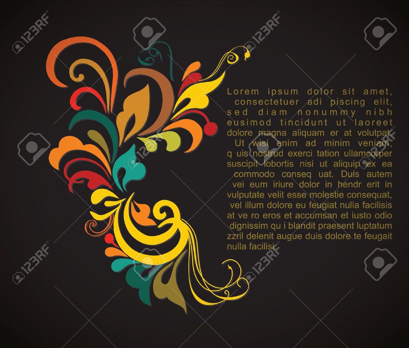Vintage card design for greeting card, invitation, menu, cover on black background Stock Vector - 13615314