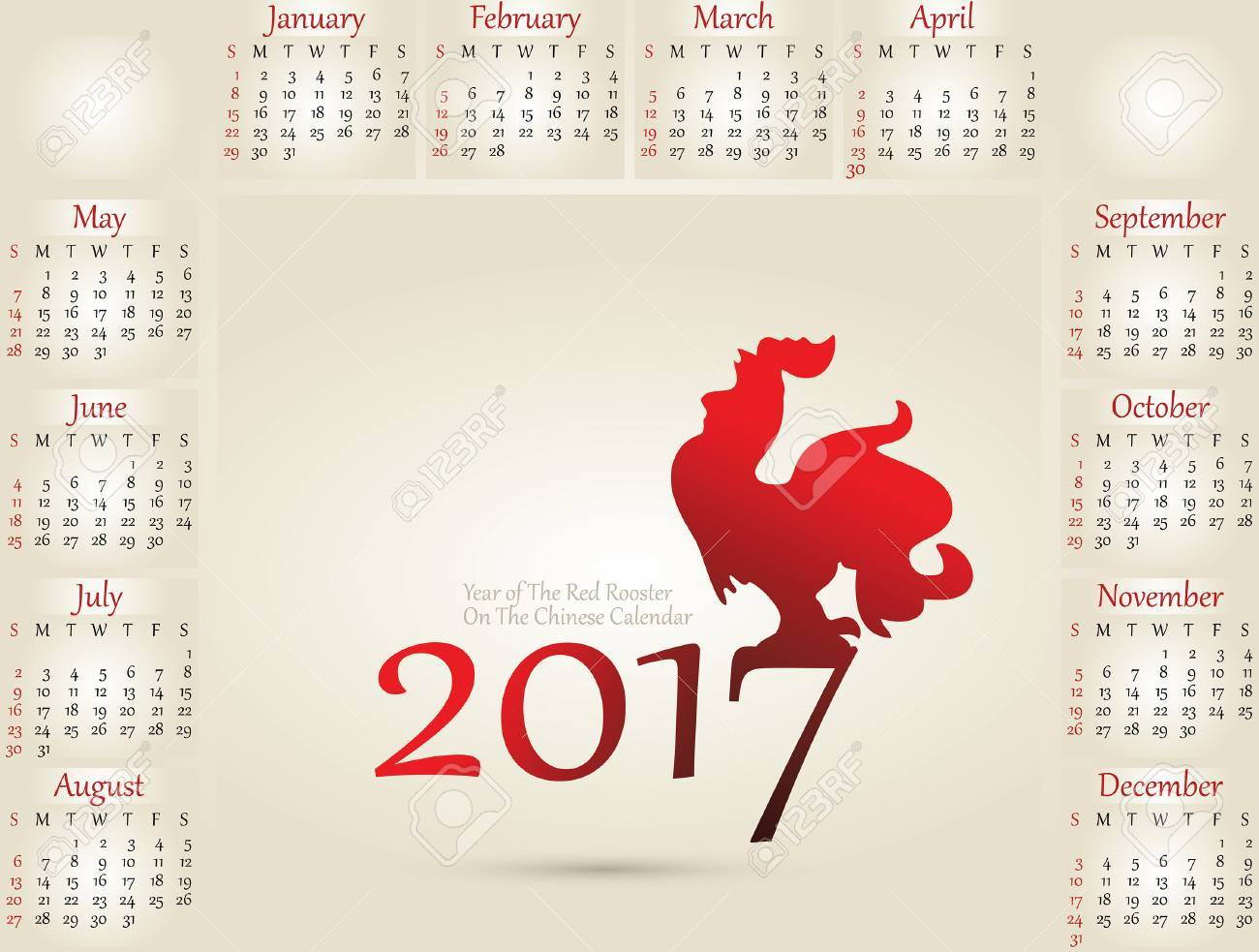 Vector Illustration Of Rooster Symbol Of 2017 On The Chinese