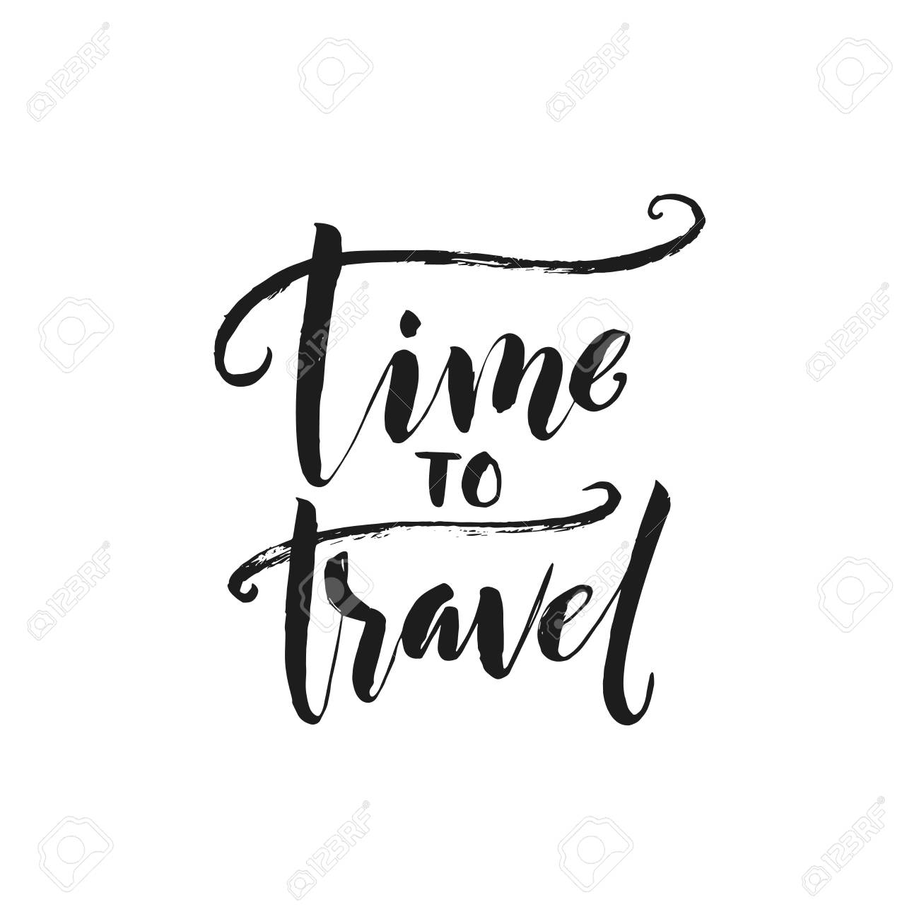 hand drawn word brush pen lettering with phrase time to travel