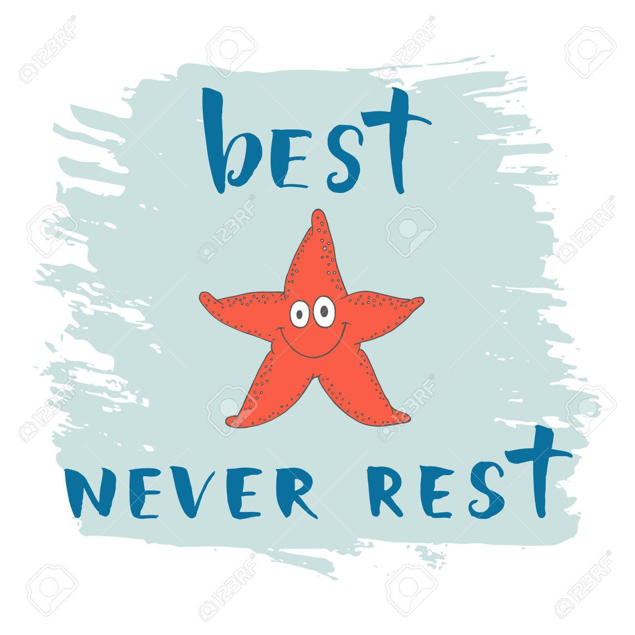 Print With Starfish And Phrase