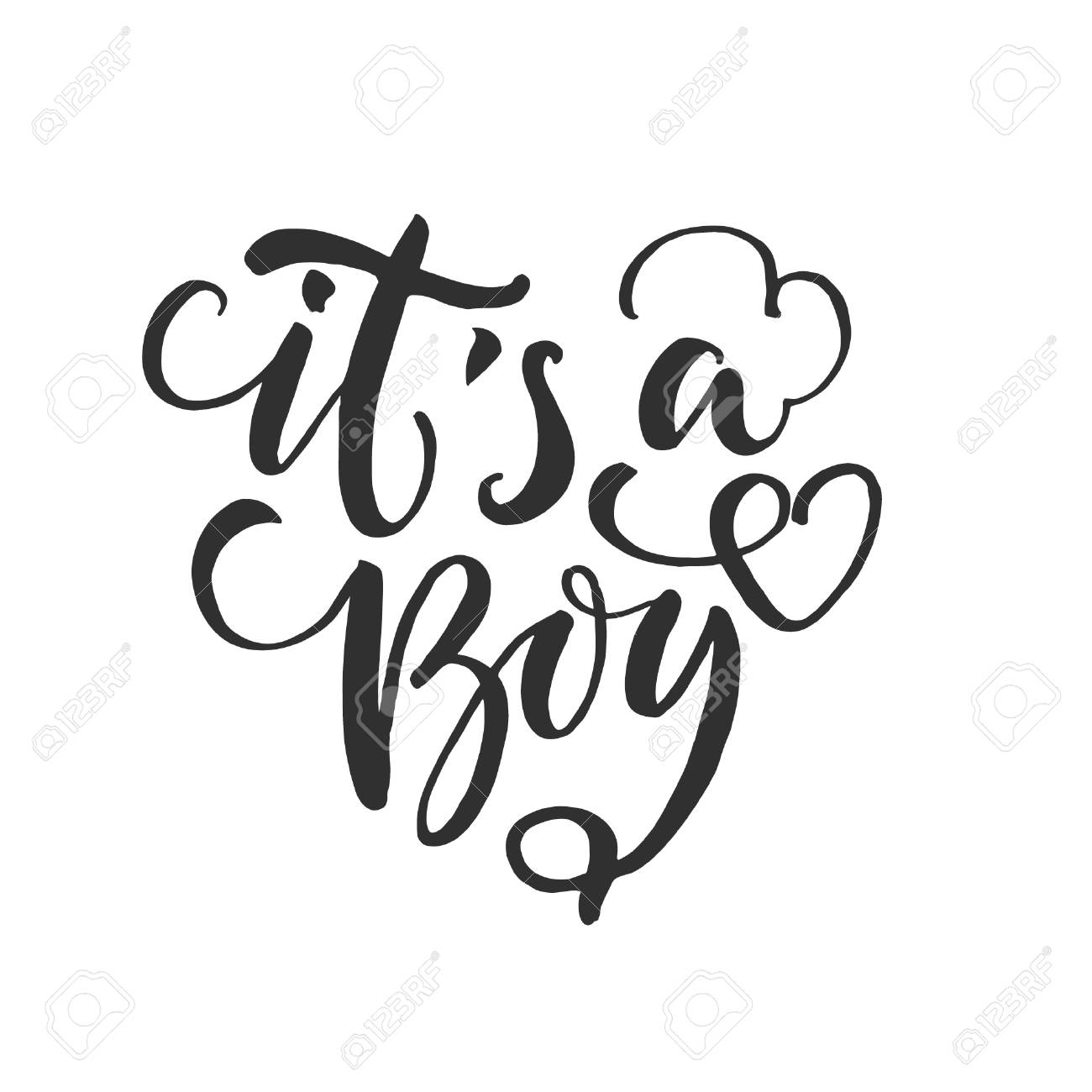 Hand Drawn Word Brush Pen Lettering With Phrase Its A Boy