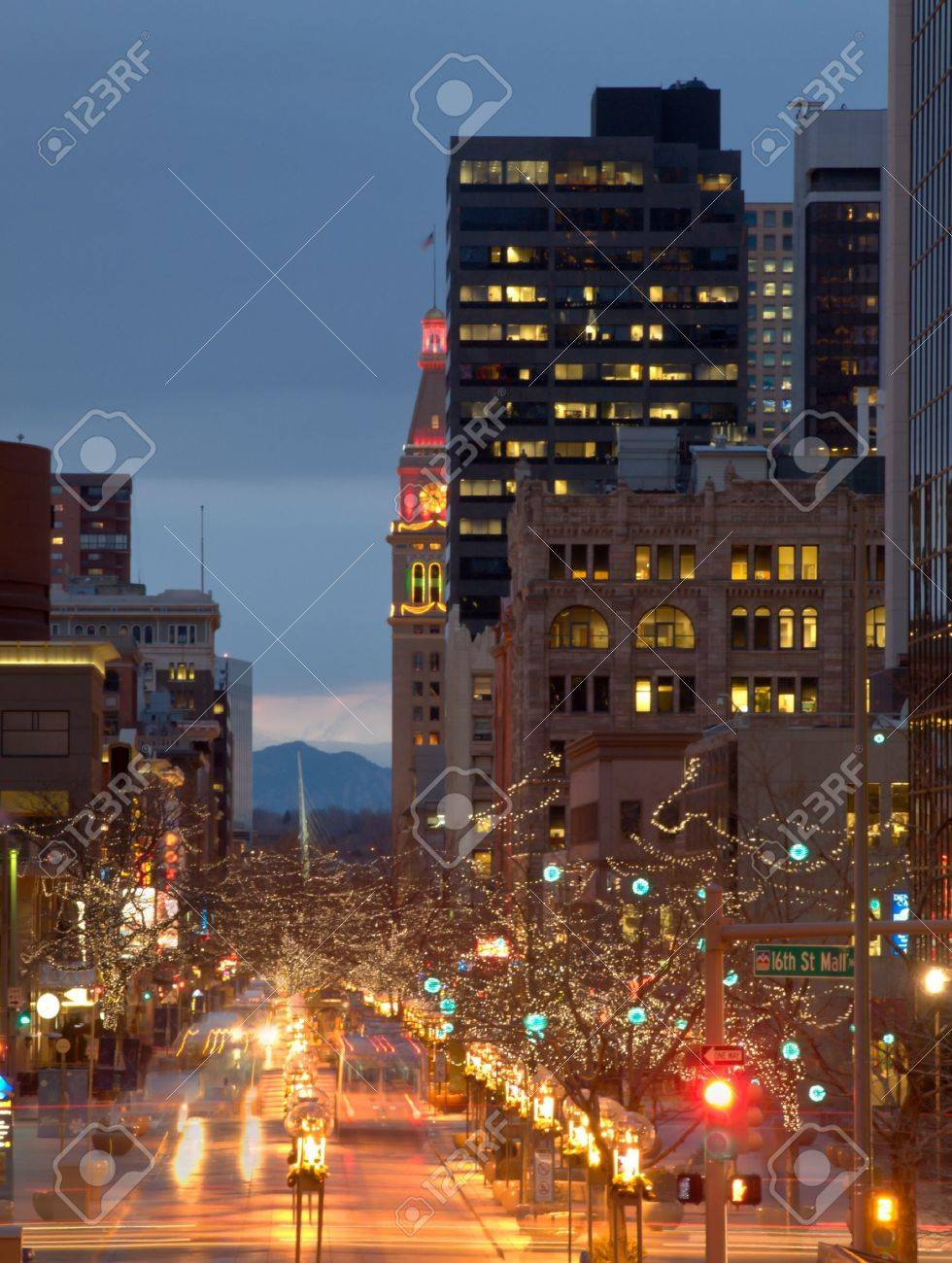 Downtown Denver at Christmas. 16th Street Mall decorated with holiday lights. Stock Photo - 9914471