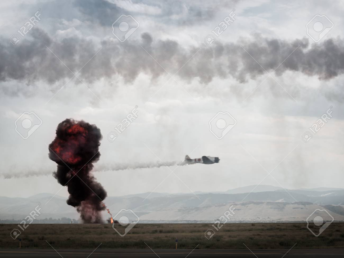 Reenactment of attack on Pearl Harbor at the Rocky Mountain Airshow in Broomfield, Colorado. Stock Photo - 10636068