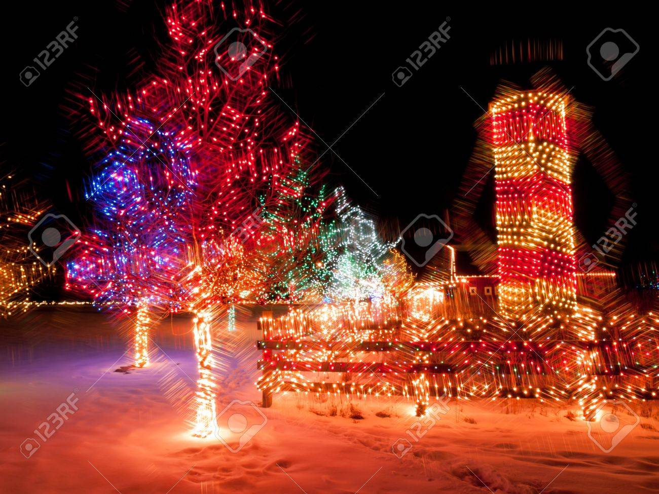 Trail Of Lights At Denver Botanical Gardens At Chatfield. Stock Photo    11491863