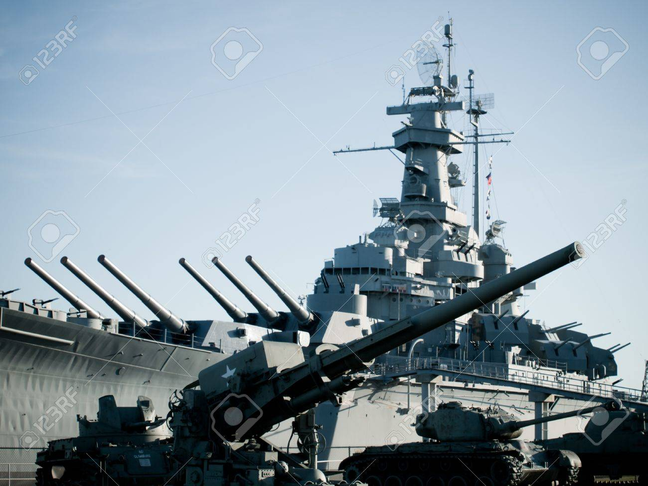 Battleship Of US Navy At The Museum In Mobile AL Stock Photo - Ship museums in us
