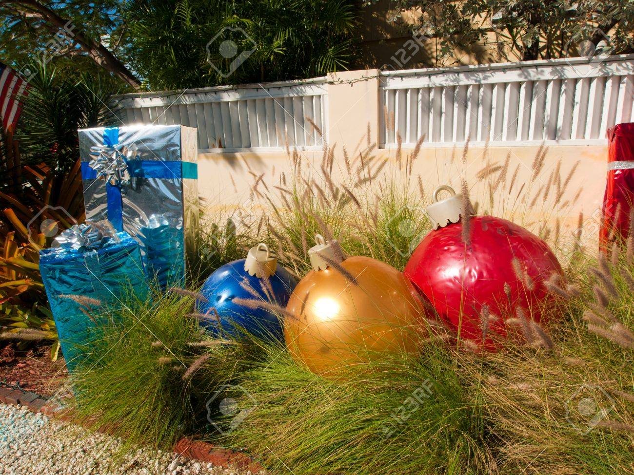 Front Yard Decorated For Christmas On Key West, Florida. Stock Photo ...