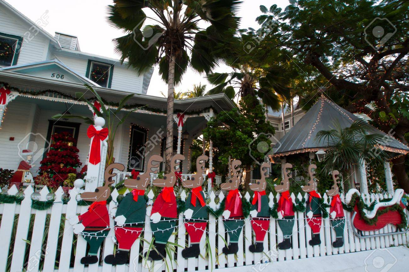 Hose Decorated For Christmas On Key West, Florida. Stock Photo ...