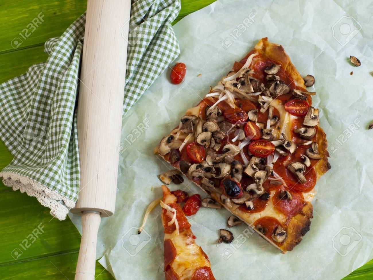 Vegetable pizza served for dinner. Stock Photo - 13678320