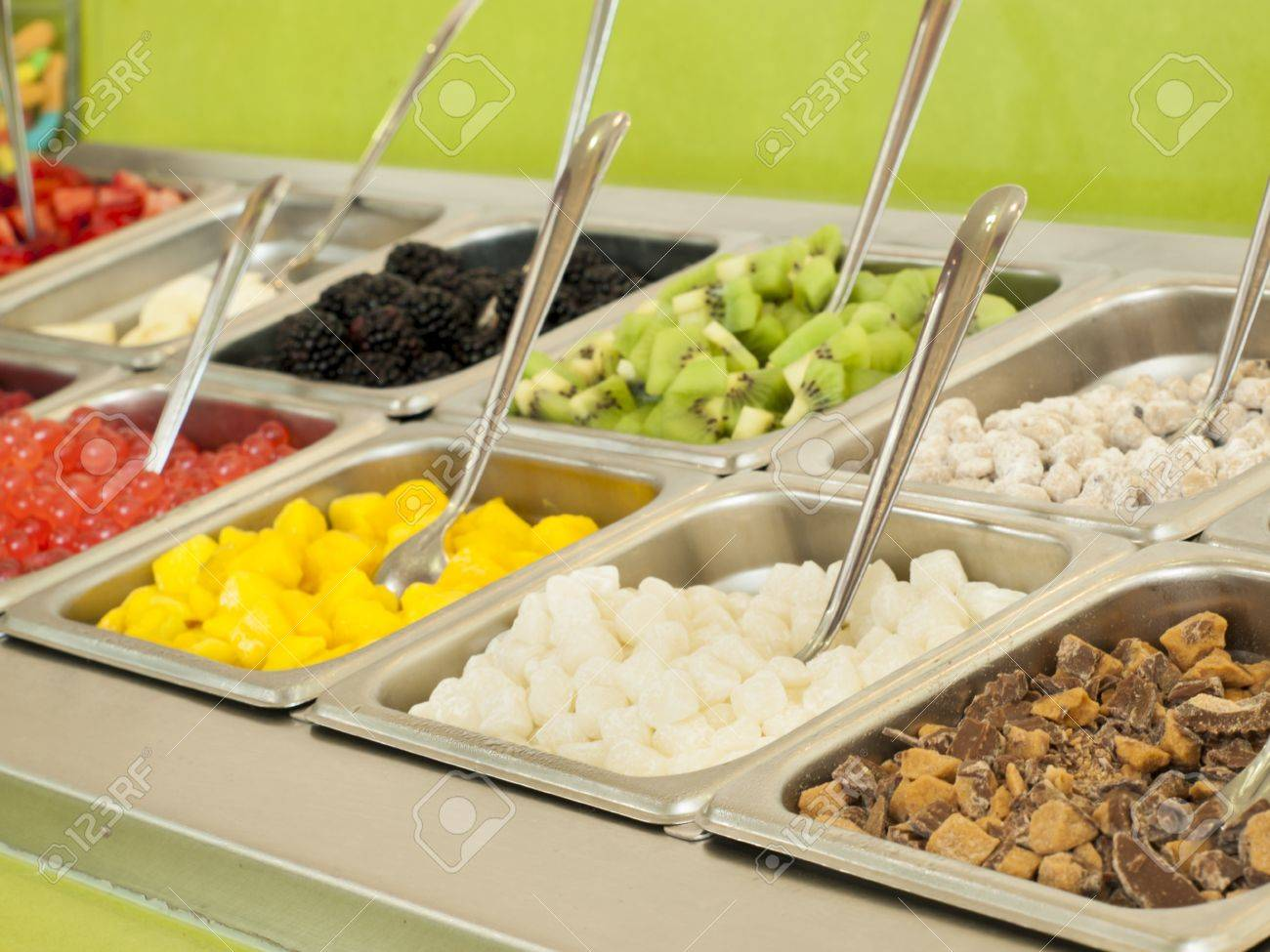 Beau Frozen Yogurt Toppings Bar. Yogurt Toppings Ranging From Fresh Fruits,  Nuts, Fresh