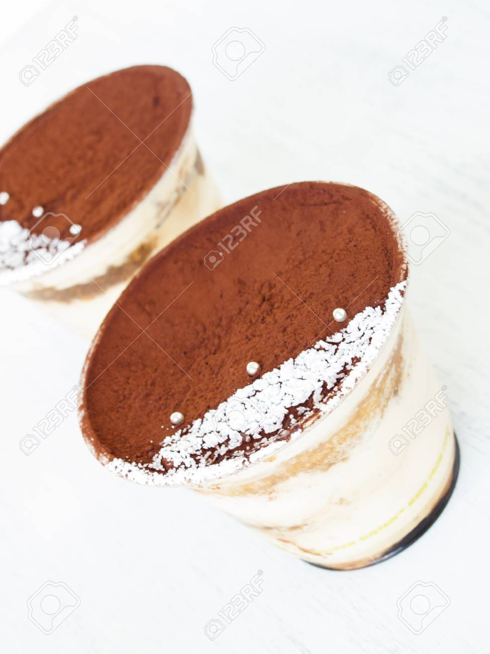 Tiramisu Mousse With Custom Decoration Served In Plastic Cup. Foto on