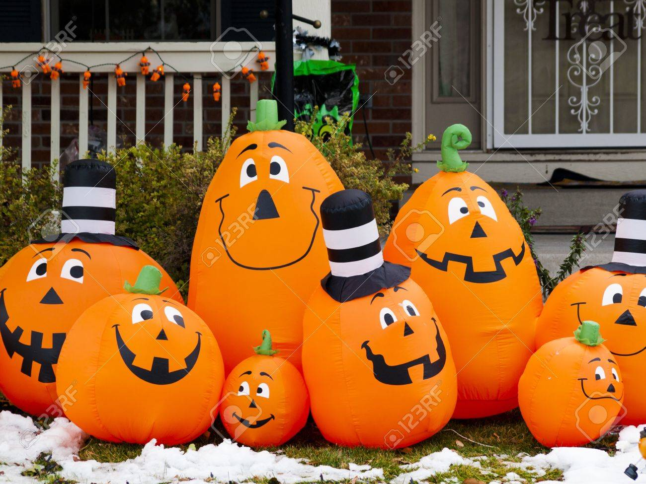 halloween decorations in the front yard of a house on halloween stock photo 15982376 - Halloween Inflatable Yard Decorations