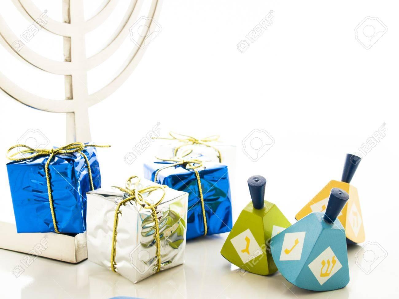 Colorful dreidels on white background. Stock Photo - 16634607