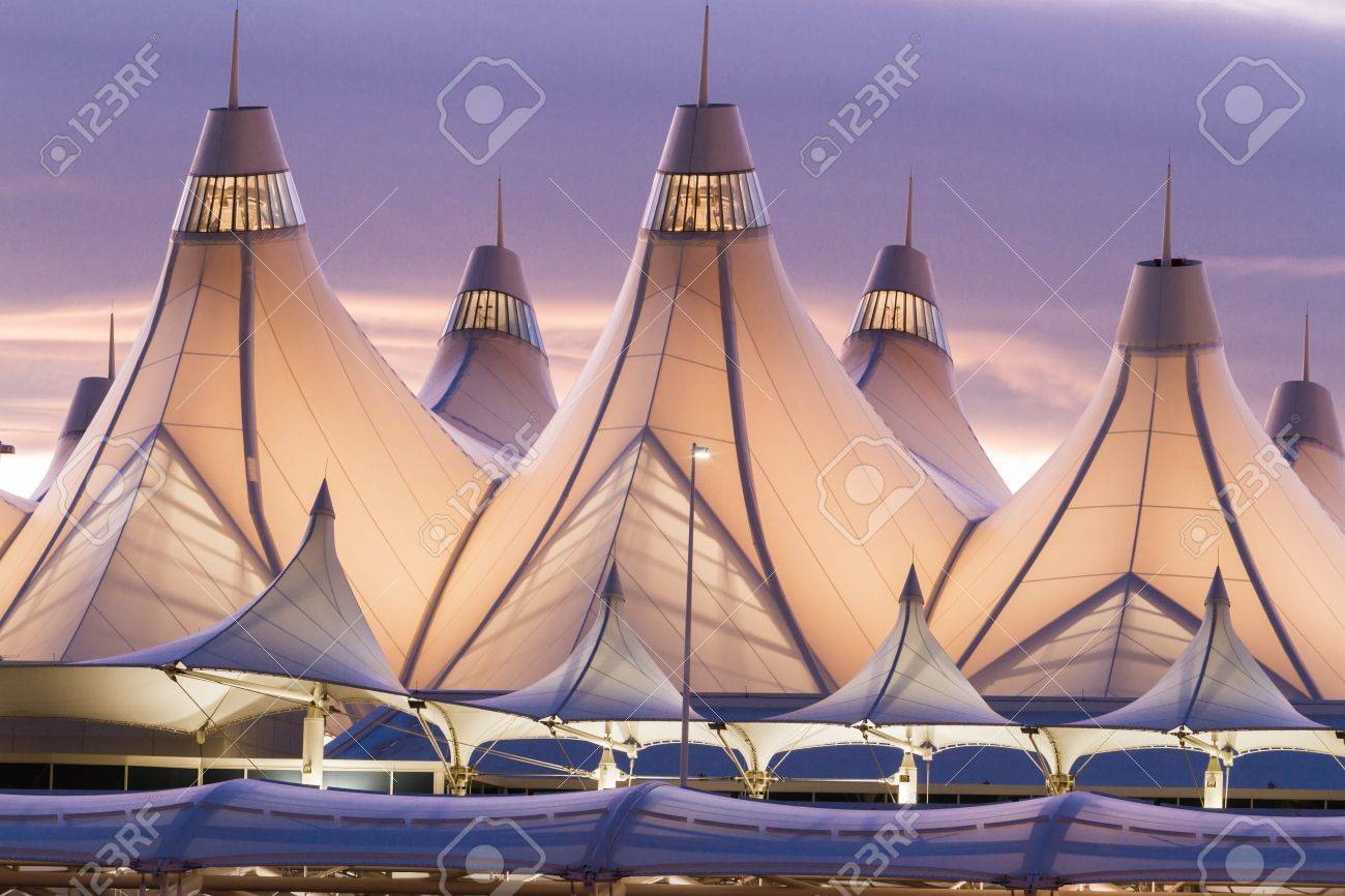 Glowing tents of DIA at sunrise. Denver International Airport well known for peaked roof. & Glowing Tents Of DIA At Sunrise. Denver International Airport ...