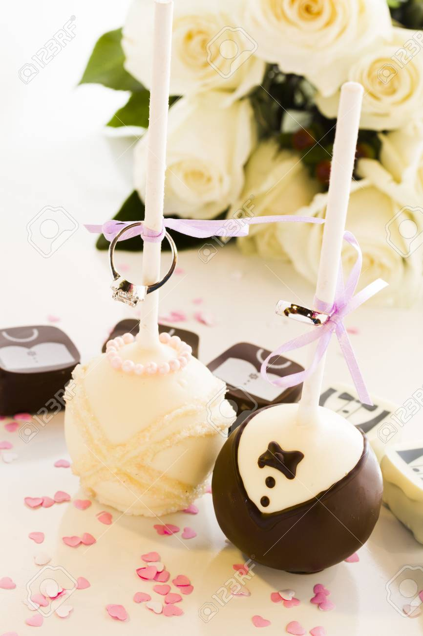 Chocolate Cake Pops Decorated For Wedding Party. Stock Photo ...