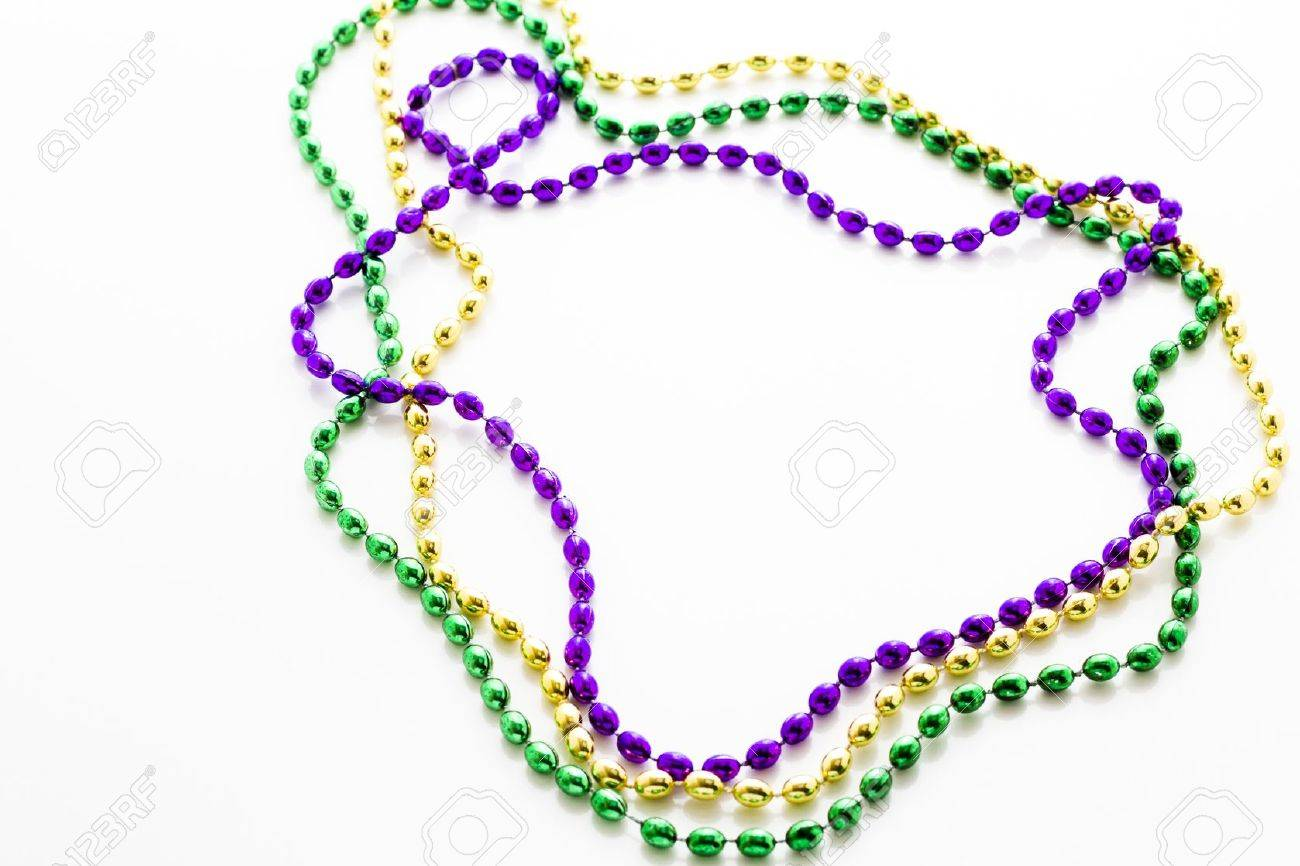 Multi Color Mardi Gras Beads On White Background Stock Photo