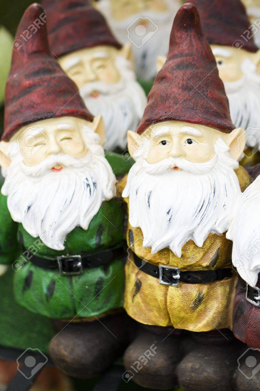 handmade garden gnomes on the display. Stock Photo - 17908286