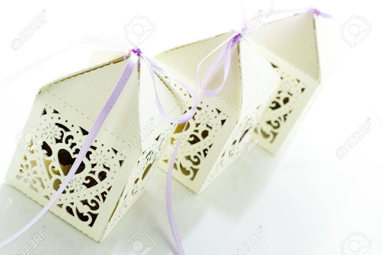 Square White Decorative Lace Heart Favor Boxes Filled With Gourmet ...