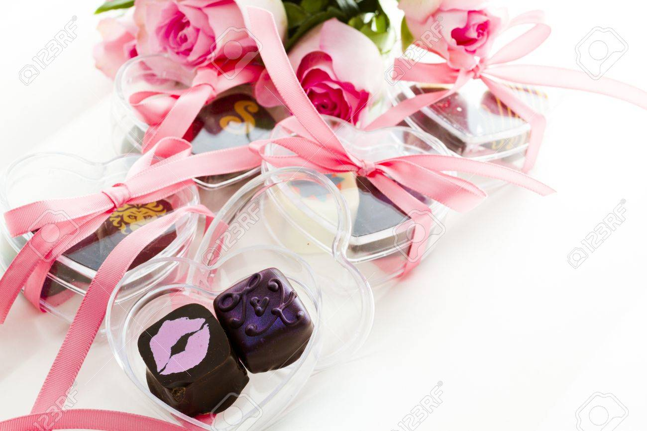 Miniature Hear Shaped Boxes Filled With Gourmet Truffles. Stock ...