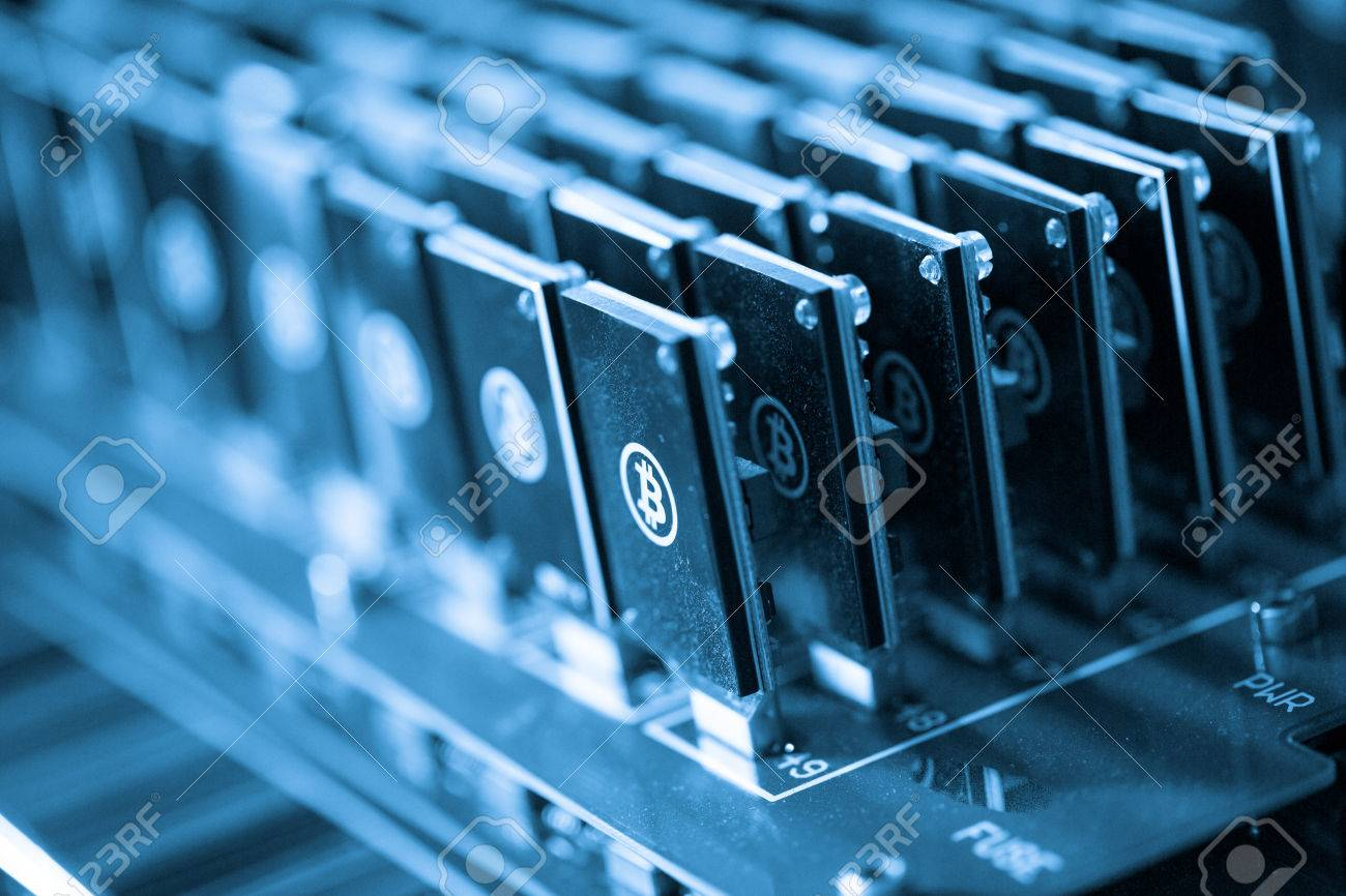 Bitcoin mining USB devices on a large USB hub. Stock Photo - 26095672