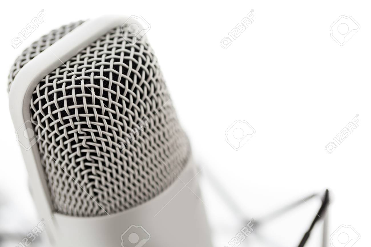 Studio microphone for recording podcasts on a white background. Stock Photo - 26956519