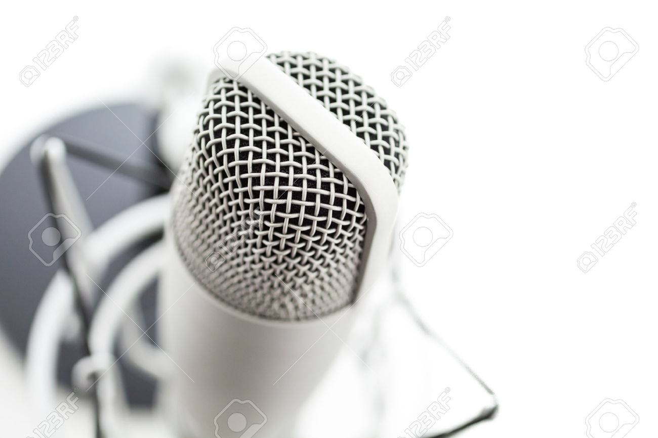 Studio microphone for recording podcasts on a white background. Stock Photo - 26956548