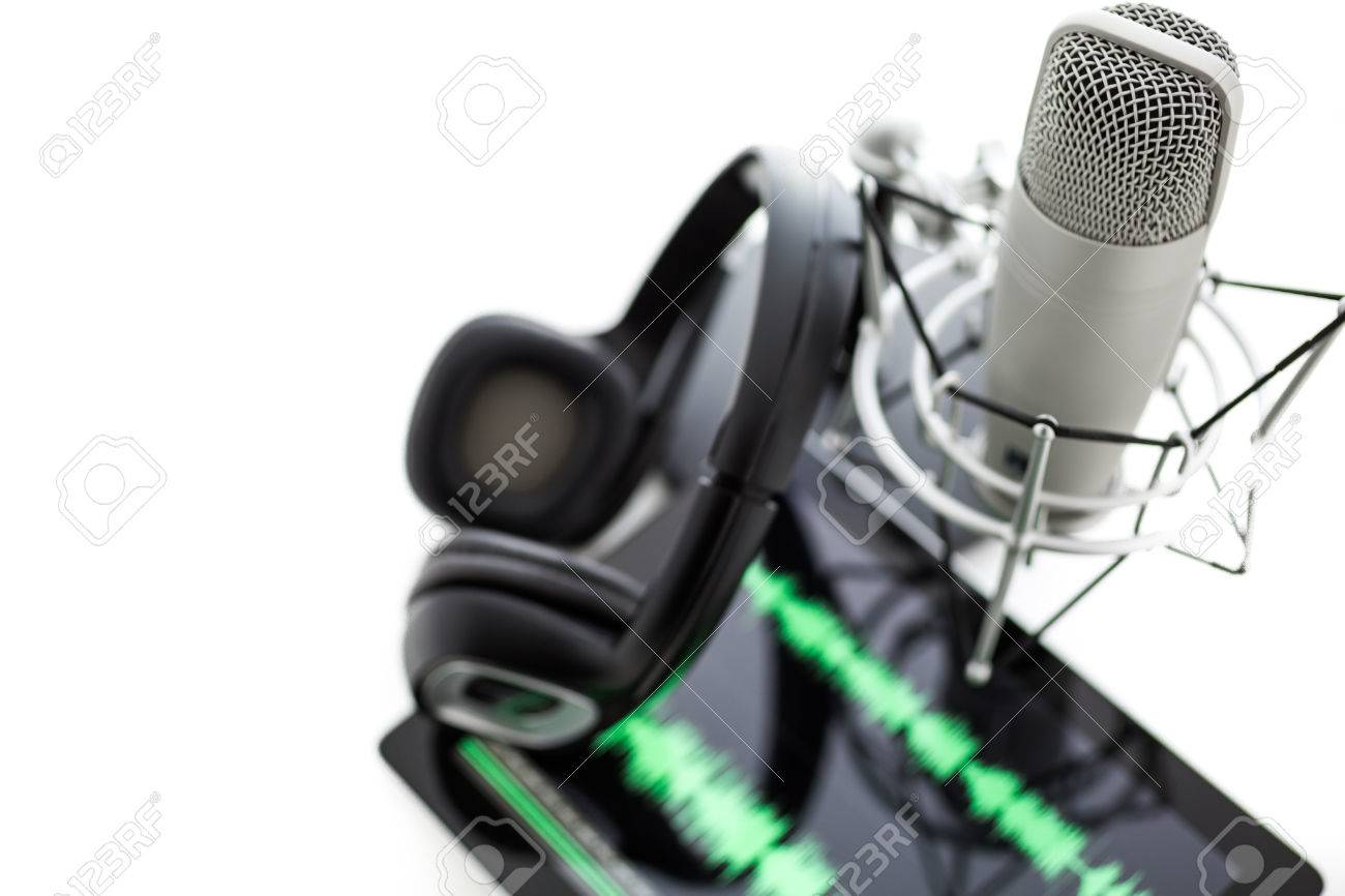 Studio microphone for recording podcasts with headset on a white background. Stock Photo - 26956637