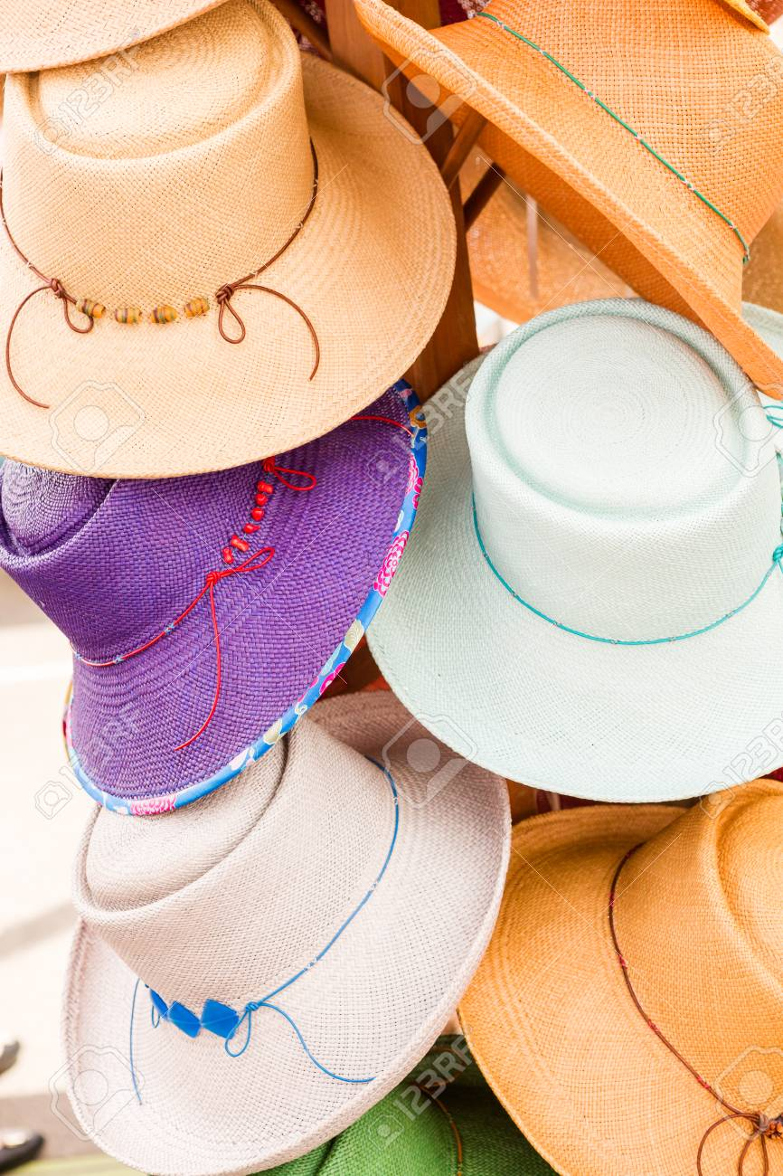 Stock Photo - Summer hats for sale at the Farmers Market in early Summer. c5bf40f3b66