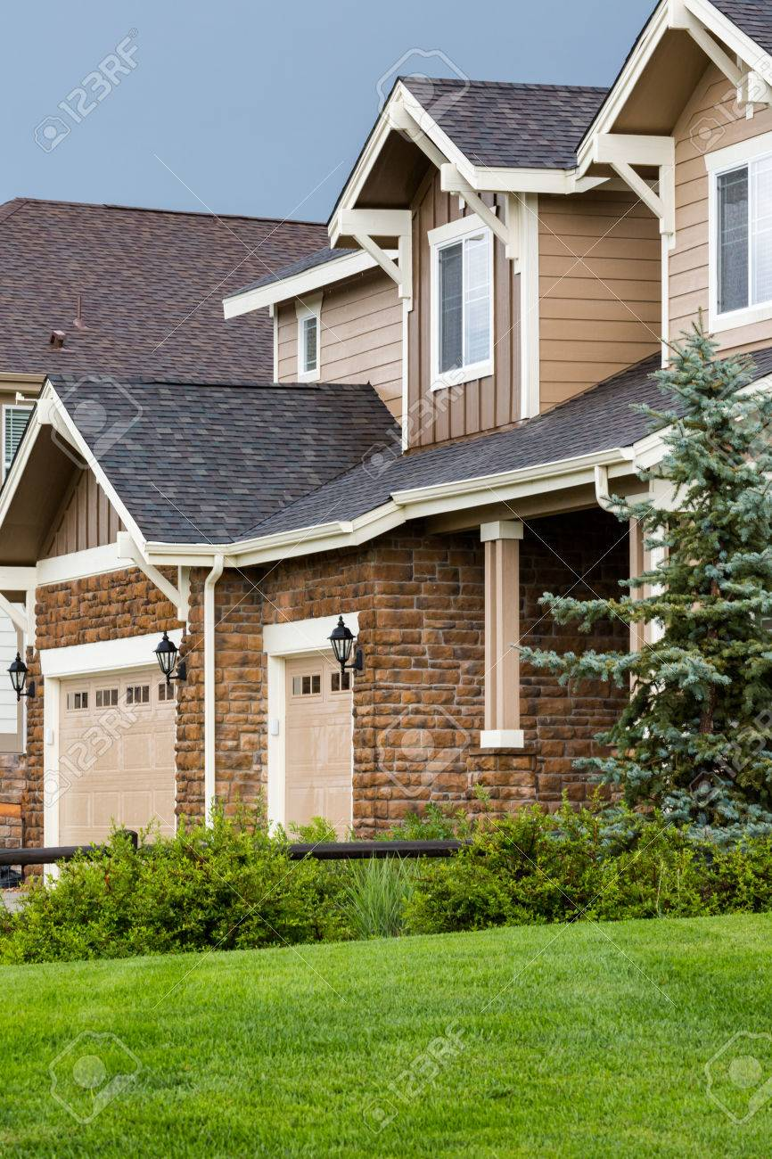 stock photo typical american suburban community with model homes
