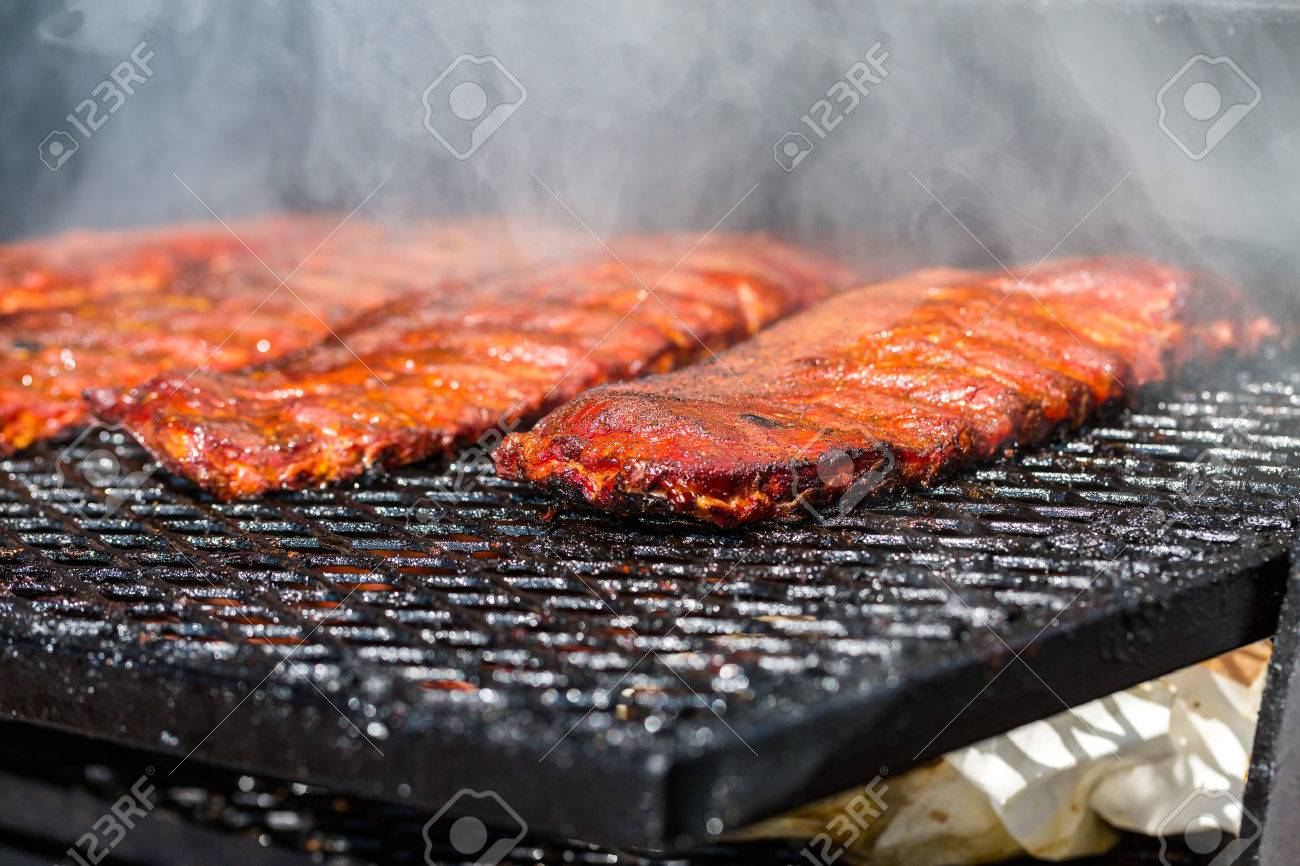 Baby back ribs prepared in smoker. Stock Photo - 31180132