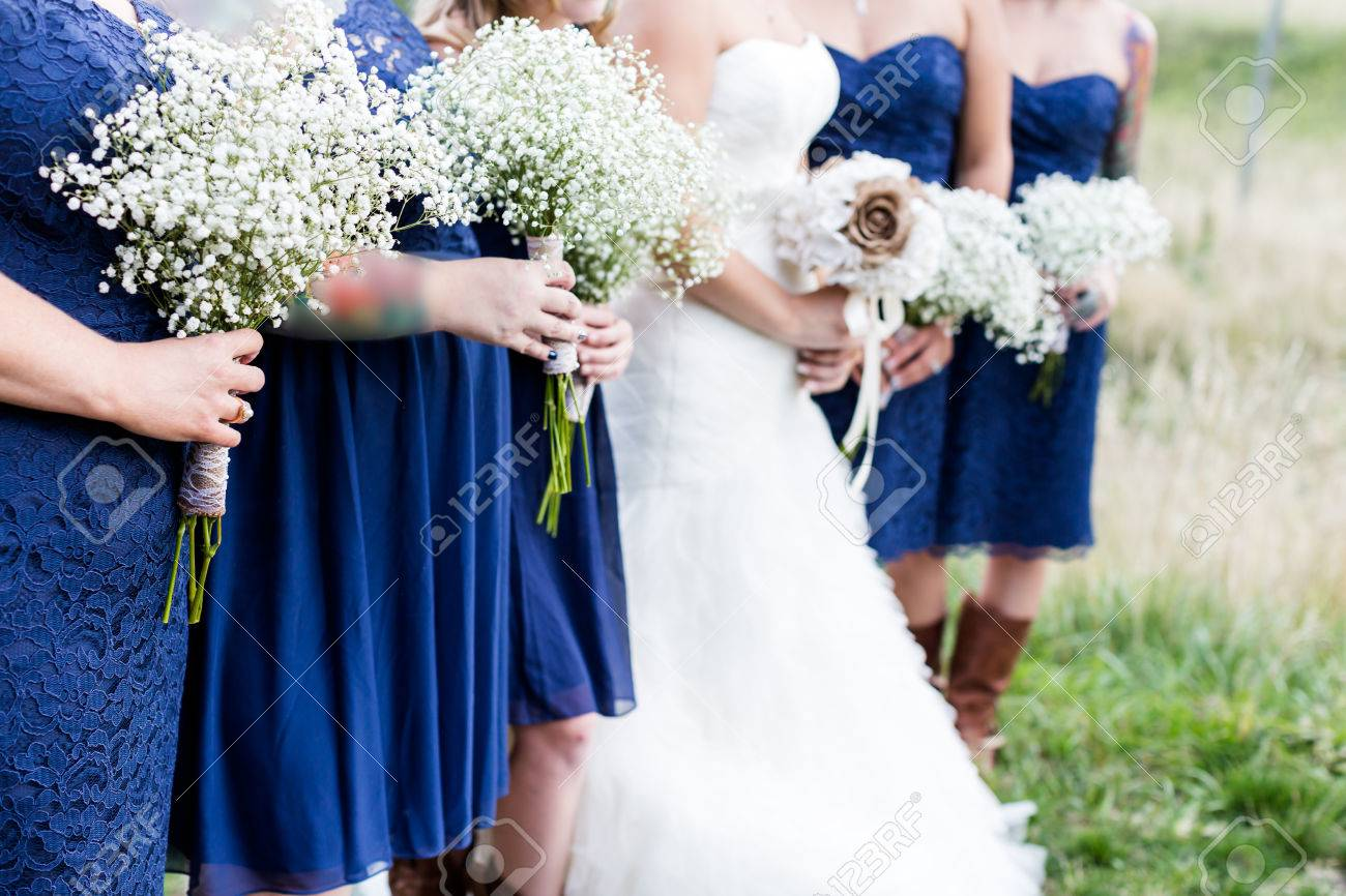 Small Outdoor Wedding In White And Blue Theme Stock Photo Picture