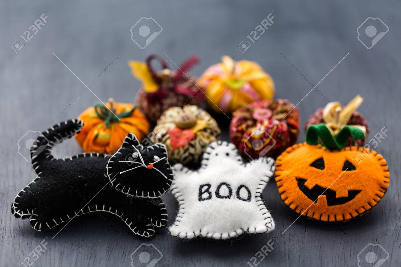 handmade halloween decorations from fabric stock photo 32595421 - Handmade Halloween Decorations