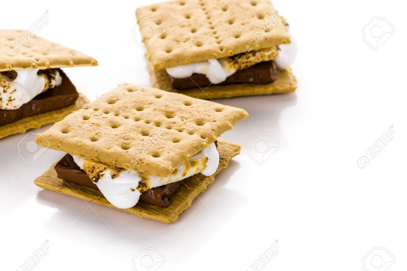 Freshly toasted smores with large white marshmallows. - 34302875