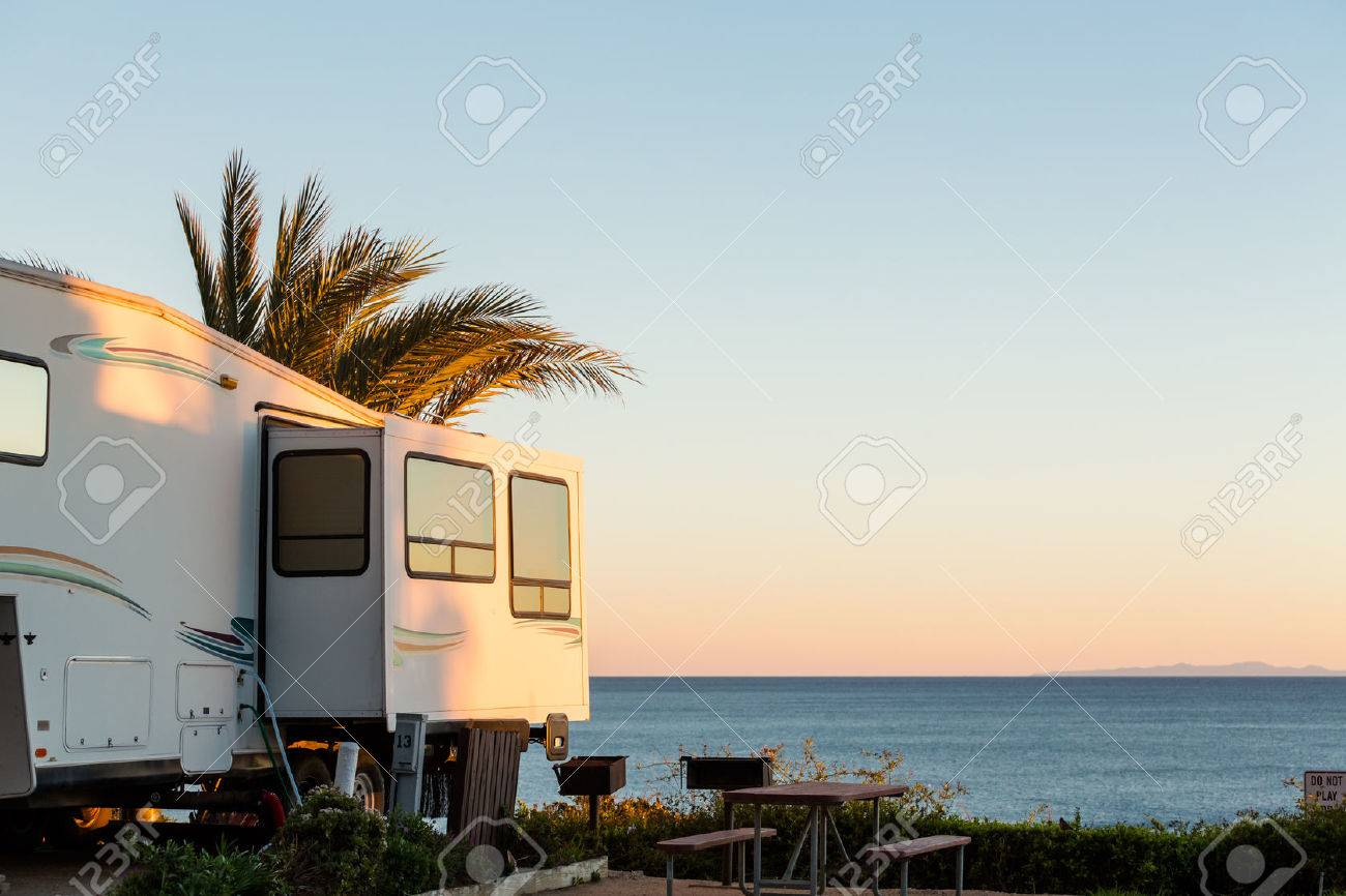 Winter RV camping on cost of California. Stock Photo - 35035527
