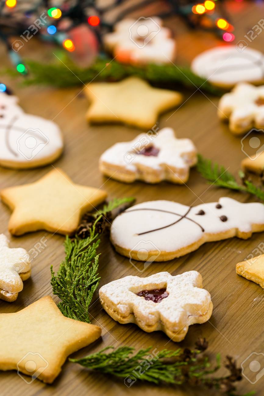 Sugar Cookies In Shape Of Snowman Stars And Christmas Tree