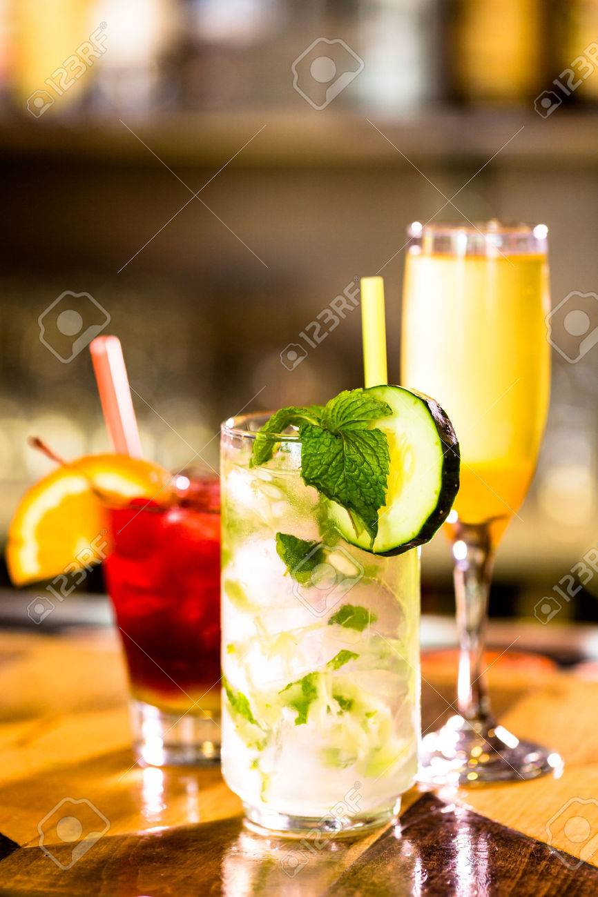 Colorful cocktail on top of the bar in Italian restaurant. Stock Photo - 39766625