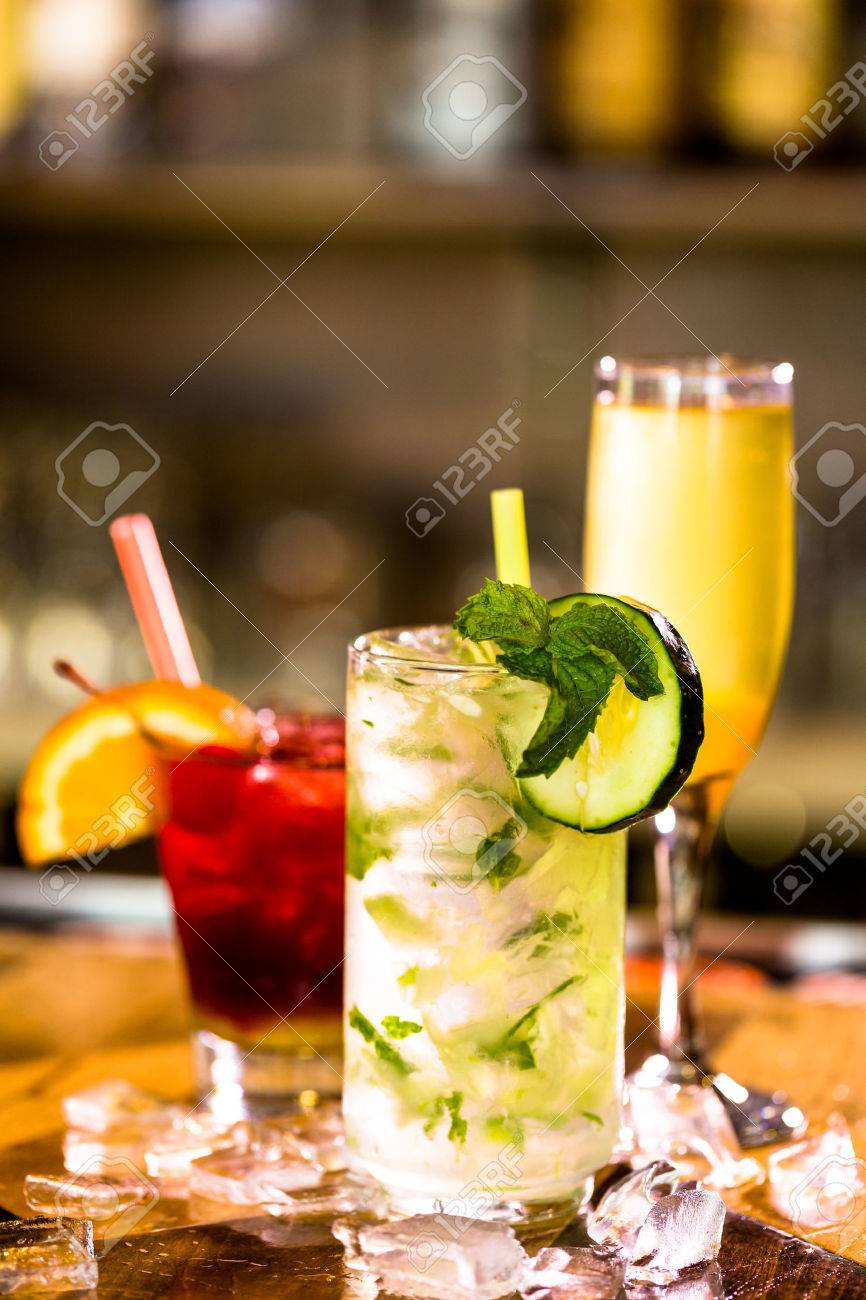 Colorful cocktail on top of the bar in Italian restaurant. Stock Photo - 39766856