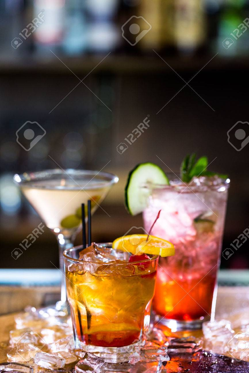 Colorful cocktails on the bar table in restaurant. Stock Photo - 39932111