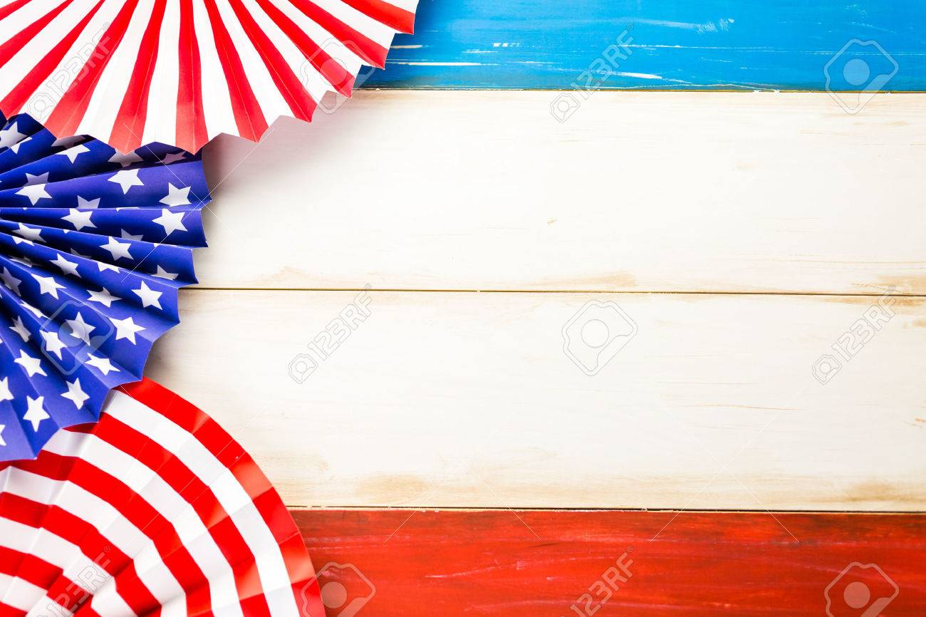 White, blue and red decorations to celebrate July 4th. - 41065586