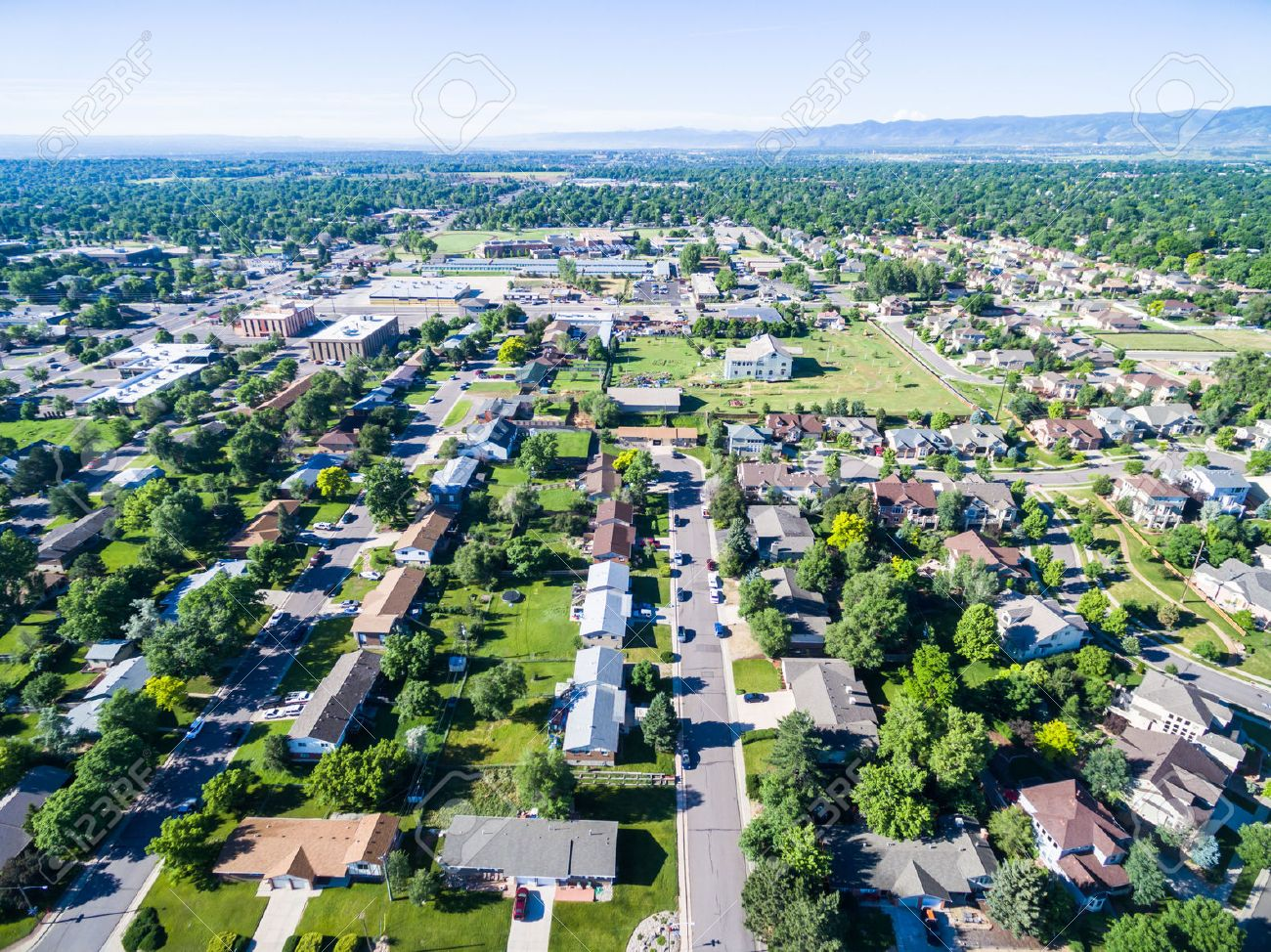Aerial view of residential neighborhood in Lakewood, Colorado. Stock Photo - 42019829