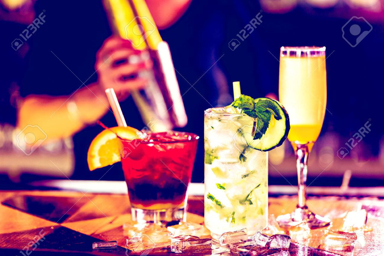 Colorful cocktail on top of the bar in Italian restaurant. Stock Photo - 47576798