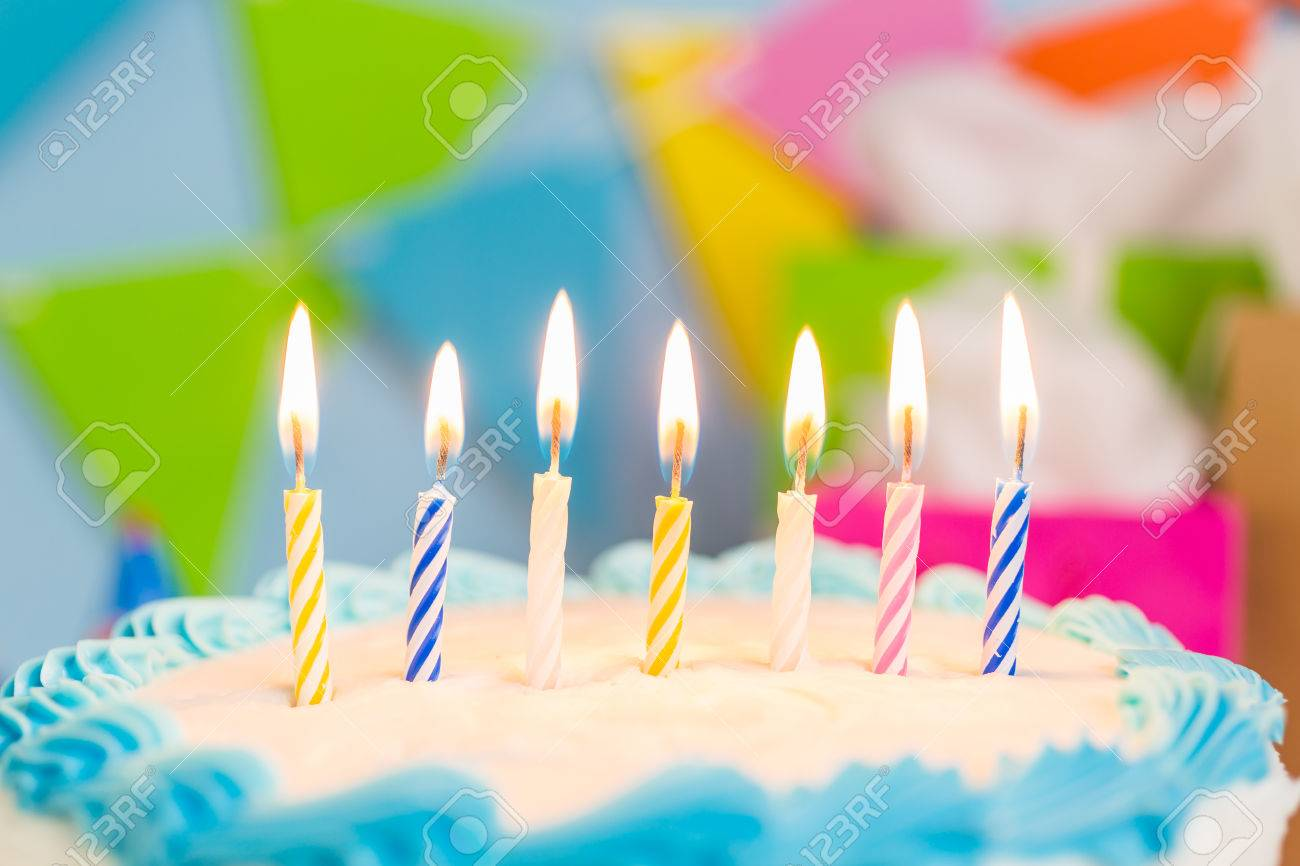 Simple White Birthday Cake With Candles Stock Photo