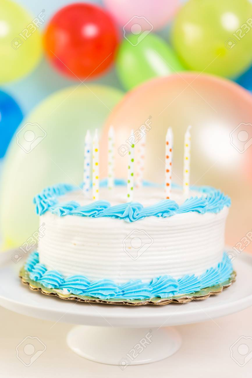 Simple White Birthday Cake With Cake Candles Stock Photo Picture