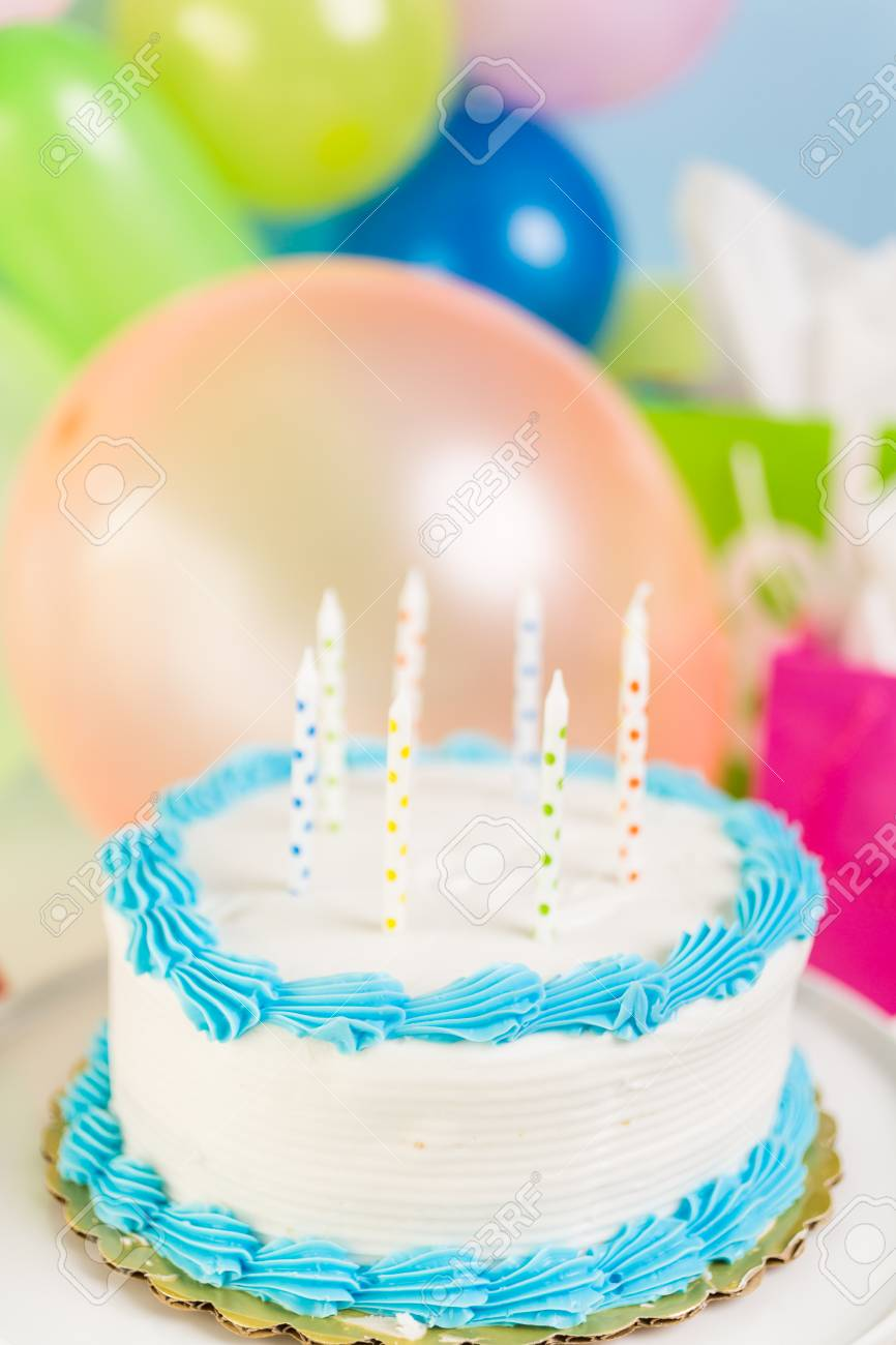 Fantastic Simple White Birthday Cake With Cake Candles Stock Photo Picture Birthday Cards Printable Trancafe Filternl