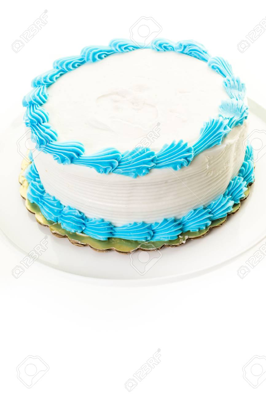 Excellent Simple White Birthday Cake With White And Blue Icing Stock Photo Birthday Cards Printable Trancafe Filternl