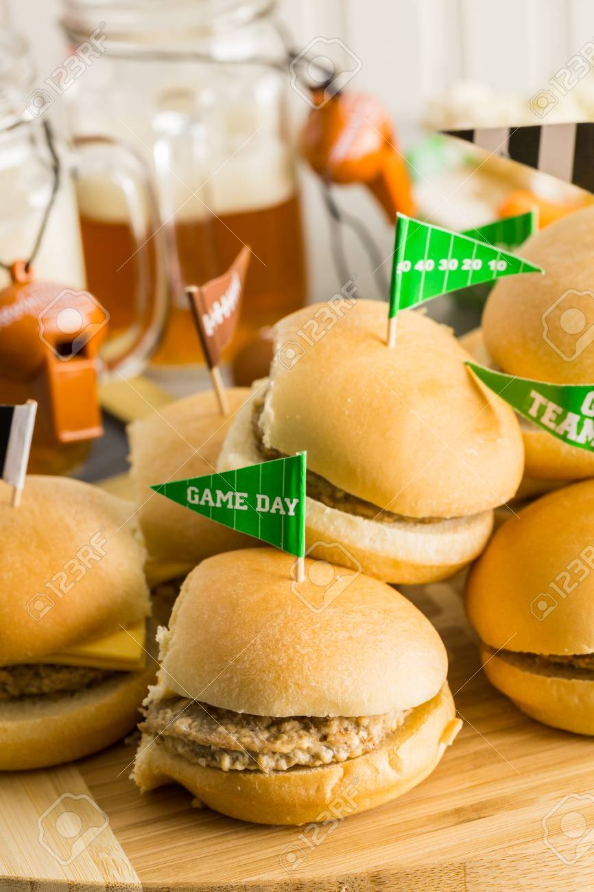Sliders With Veggie Tray On The Table For The Football Party. Stock Photo    62646179