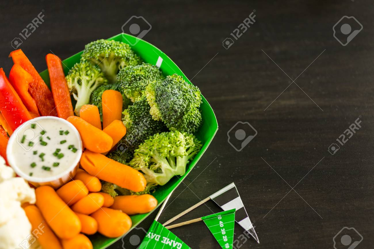 Brilliant Veggie Tray On The Table For The Football Party Beutiful Home Inspiration Aditmahrainfo
