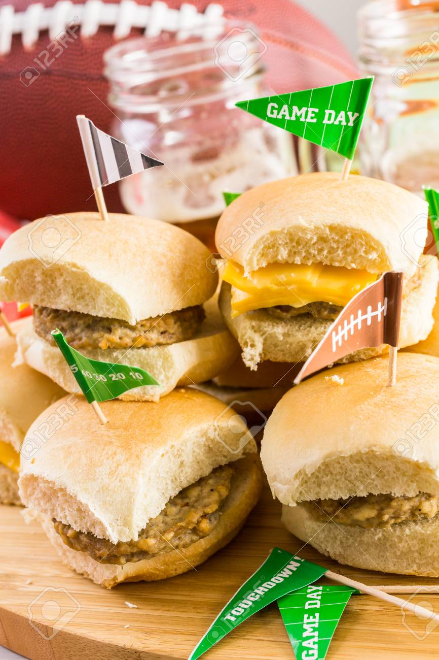 Sliders With Veggie Tray On The Table For The Football Party. Stock Photo    62646256