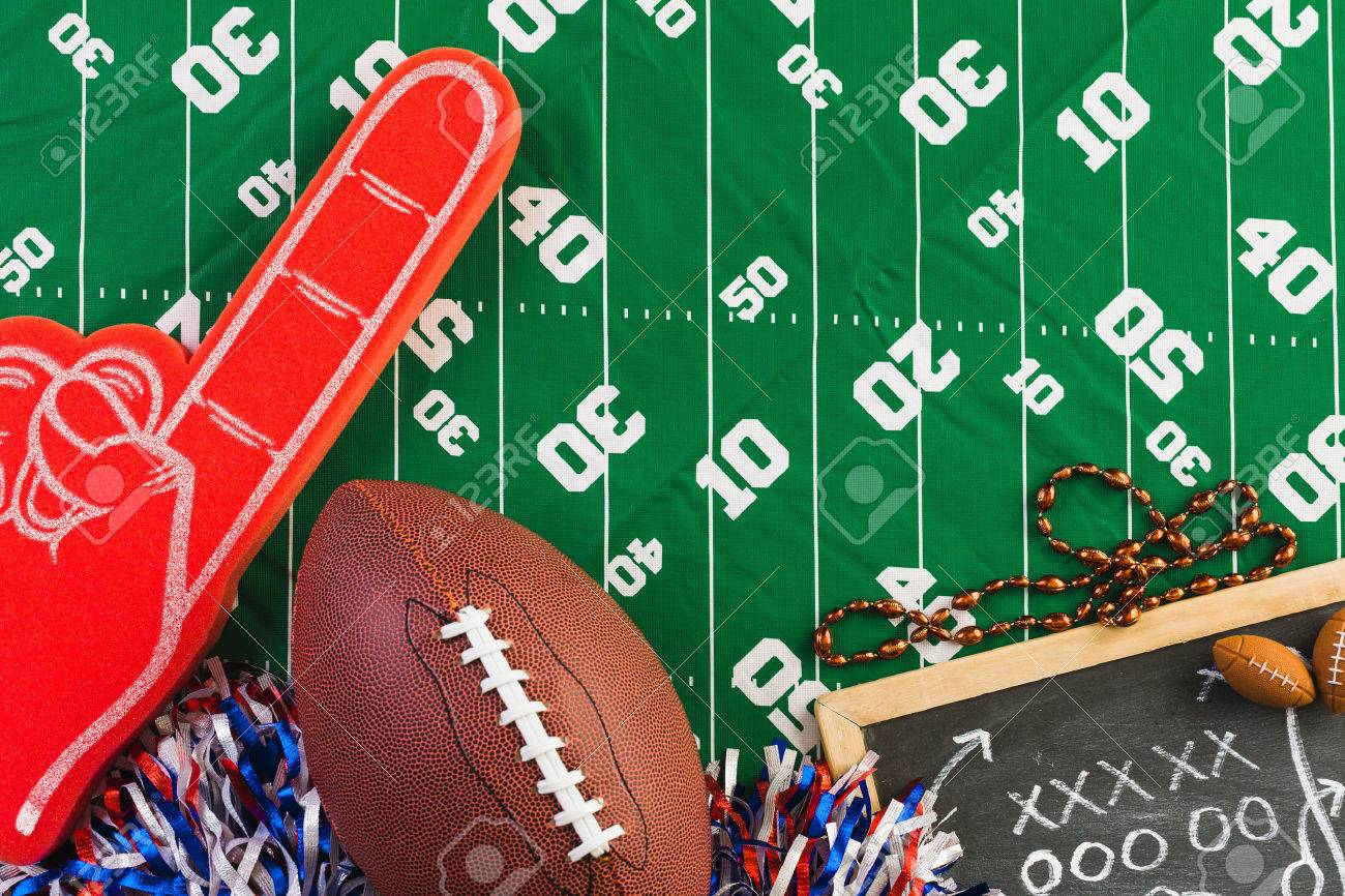 Game day football party table. - 68091297