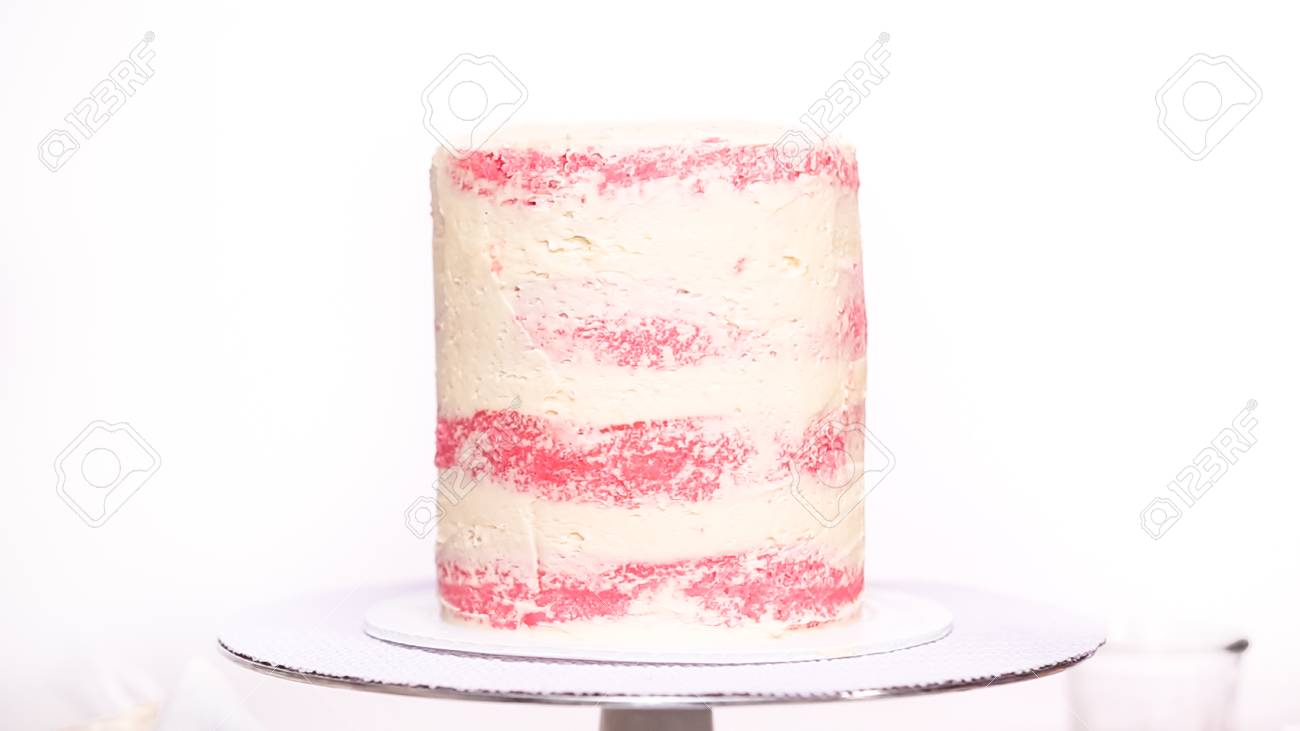 Step By Icing Tall Birthday Cake With White Buttercream